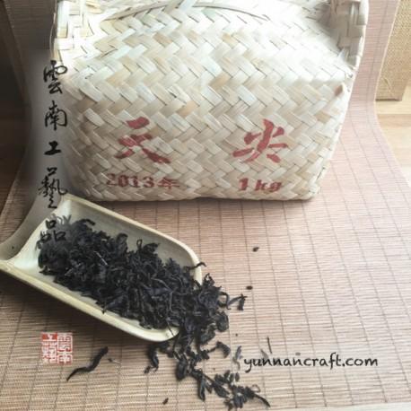 2013 Тан Бэй Хэй Ча (жареный) - в бамбуковой корзине
