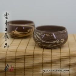 Чашка Цзы Тао -2шт. (коричневая смесь) 60мл