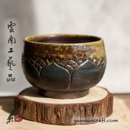 95ml Dai Tao Cup ( wood fired & ash ) - Lotus